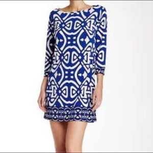 NWT Laundry by Design blue and white Print Dress